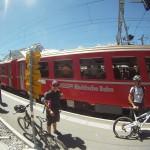 Rhätische Bahn auf dem Bahnhof Bernina Ospizio